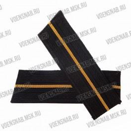 Погоны ВМФ со скосом, черные, 1 желтый просвет