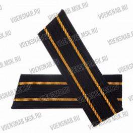 Погоны ВМФ со скосом, черные, 2 желтых просвета