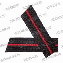 Погоны ВМФ со скосом, черные, 1 красный просвет