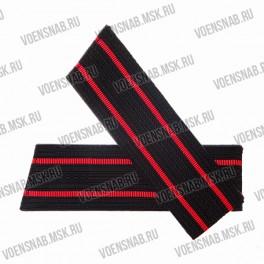 Погоны ВМФ со скосом, черные, 2 красных просвета