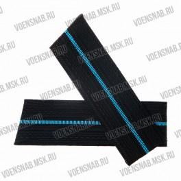 Погоны ВКС со скосом, синие с голубым кантом