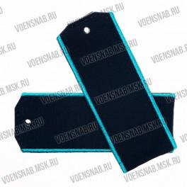 Погоны МО на пластиковой основе, оливковые 2 голубых просвета,картон.