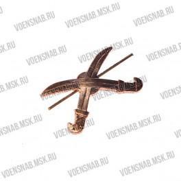 Эмблема петличная Казачество , серебро (сабли без  подковы)