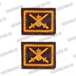 Нашивка с липучкой эмблема петличная (Сухопутные войска), защитная