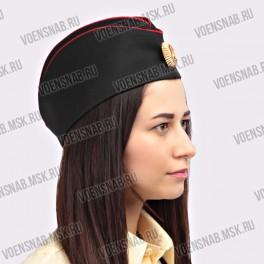 Пилотка для офицерского состава морской пехоты (черная, 2 красных канта)