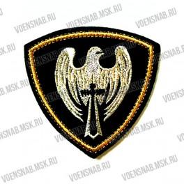 Нашивка нарукавная Россия (кадетский корпус, красное сукно, перо и шпага) пластизоль