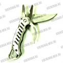 Нож складной с ложкой и вилкой, большой, зеленая ручка