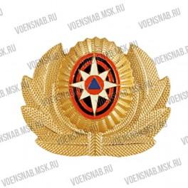 Кокарда МЧС овал, золото, черно-оранжевые круги, роза ветров