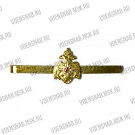 Зажим для галстука с орлом МО (тонкая латунь, Георгий на красном фоне)