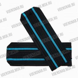 Погоны ВМФ черные, 2 голубых просвета